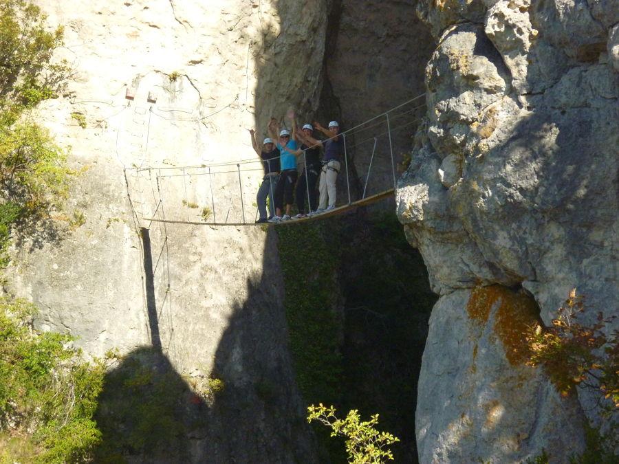 Pont Népalais Dans La Via-ferrata Du Liaucous. Entre2nature: Hérault Et Gard