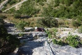 Escalade Grande Voie Avec Les Moniteurs Du Languedoc-Roussillon, Au Thaurac Dans Les Gorges De L'Hérault En Languedoc-Roussillon.