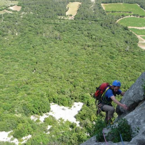 Escalade Big Wall Au Pic Saint-Loup Dans L'Hérault